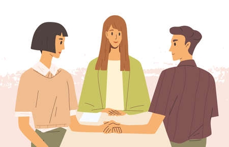 Concept of mediation. Man and woman sitting at desk, discussing problem, finding solution. Partners negotiation process with impartial arbitration. Vector illustration in flat cartoon style