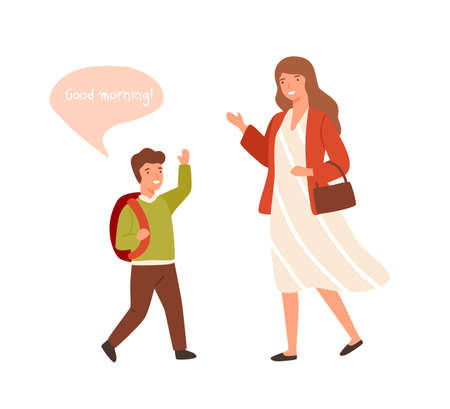 Smiling cartoon well mannered boy greeting adult woman vector flat illustration. Cartoon schooler guy waving hand to wish good morning isolated on white. Child demonstrate respectful manners