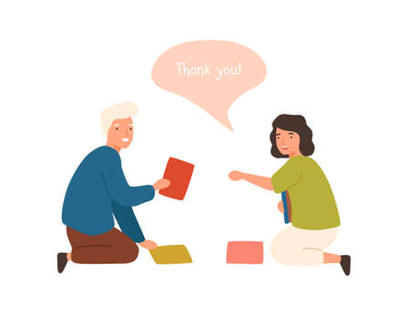 Positive cartoon old man help smiling female to collect fallen books vector flat illustration. Happy male demonstrating good manners isolated on white background. Woman talk thank you for helping