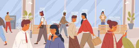 Facial recognition concept. Verification of human face in the crowd horizontal banner. Electronic identification system. Control and security technology. Vector illustration in flat cartoon style. Ilustración de vector