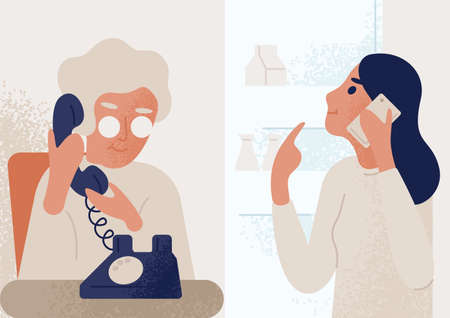 Smiling granddaughter talking to elderly mother or granny on telephone. Family distant communication scene. Women phone dialog, discussion. Colorful vector illustration in flat cartoon style