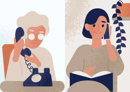 Daughter talking with her elderly mother or granny on telephone. Family distant conversation, dialog. Women communicate by phone. Colorful vector illustration in flat cartoon style