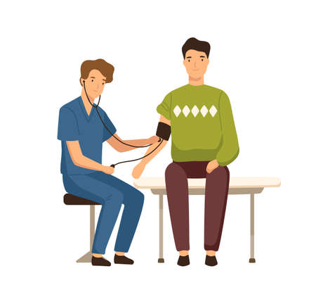 Cartoon guy visited doctor to measure blood pressure vector flat illustration. Friendly male physician during aid squeeze hand checking health condition isolated on white. Healthcare and medical