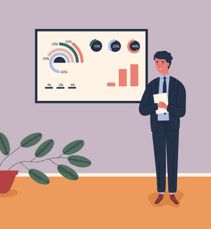 Business male character in suit talking near board with chart and diagram during presentation vector flat illustration. Man lecturer giving lecture. Guy presenting and explaining marketing data Vektorgrafik