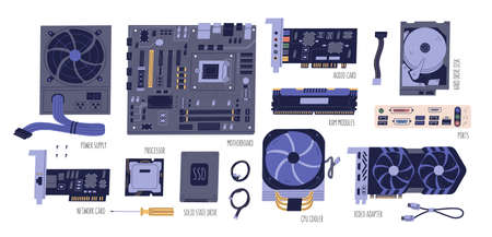 Collection of computer components. Pc and laptop parts: power supply, motherboard, audio card, HDD, RAM, network card, SSD, processor, CPU, video adapter isolated on white. Vector flat illustration 矢量图片