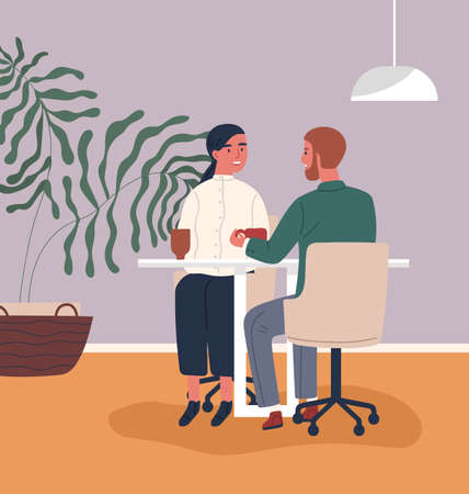 Happy couple drinking coffee at cafeteria together vector flat illustration. Colorful man and woman having date during lunch at cafe. Enamored people talking and smiling having lunch