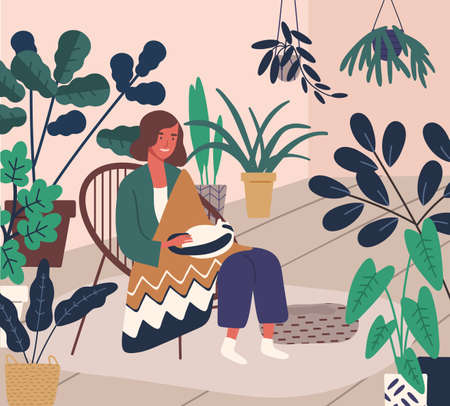 Cheerful woman sit in armchair covering warm plaid vector flat illustration. Smiling domestic female resting at home stroking cat. Joyful girl having anti stress leisure surrounded by houseplant