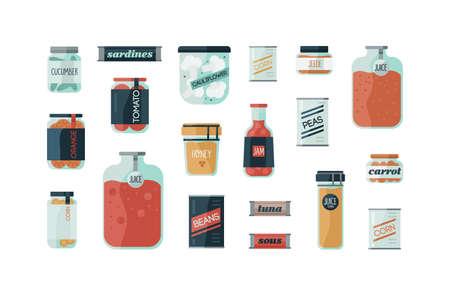 Ensemble de boîtes de verre colorées de dessin animé avec des conserves maison illustration vectorielle à plat. Collection de différents types d'aliments en conserve avec des légumes marinés isolés sur fond blanc Vecteurs