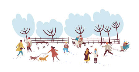 Crowd of people enjoying winter outdoors activity at park vector flat illustration. Colorful men, women and children playing snowballs, walking with dog and sledding isolated on white