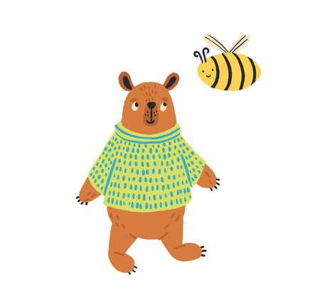 Cartoon colorful bear in jumper standing with bee vector flat illustration. Cute wild animal posing with insect isolated on white background. Adorable brown beast and honeybee friends Standard-Bild - 146358651