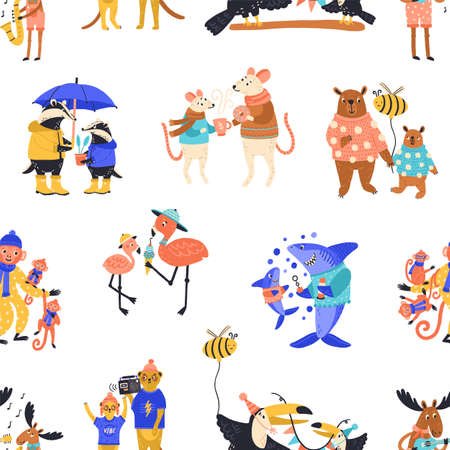 Happy cartoon wild animal family characters seamless pattern. Cute colorful childish creature parent with children vector flat illustration. Funny animals, fish and birds on white background Ilustración de vector