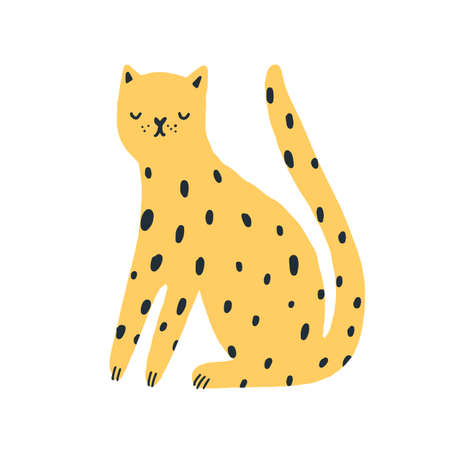 Cartoon amusing spotted wild animal vector flat illustration. Cute african leopard sitting isolated on white background. Exotic feline elegant dangerous predator in doodle style 矢量图像