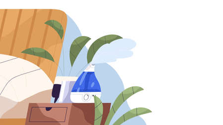 Home ultrasonic humidifier generating steam horizontal banner. Air cleaner, vaporizer. House appliance for humidity control, aromatheraphy and skincare. Vector illustration in flat cartoon style