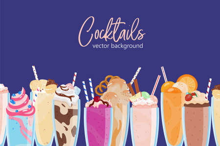 Composition of delicious milkshakes in glasses vector flat illustration background. Many refreshing tropical beverages in jars isolated. Dessert drinks decorated with fruits, berries, whipped cream Иллюстрация