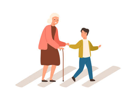 Joyful polite boy help grandmother cross street vector flat illustration. Smiling well mannered child assistance to aged woman isolated on white. Male kid and elderly female go on crosswalk together