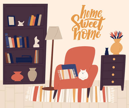 Stylish interior of cozy room vector flat illustration. Cartoon cat lying on comfy armchair with pillows surrounded by home decorations. Cosiness apartment in trendy Scandinavian hygge style 일러스트