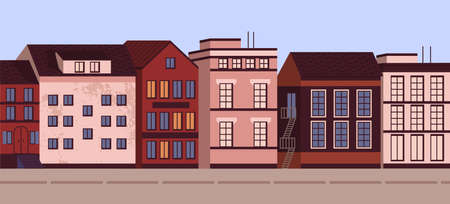 Colorful horizontal cityscape banner vector flat illustration. Modern urban architecture landscape city view. Street of town with living houses exterior. Facade of residence building with windows  イラスト・ベクター素材