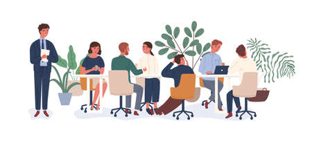 New employee at collective vector flat illustration. Male afraid public speaking in front of audience isolated on white. Chief giving dull team meeting to colleagues demonstrating lack of interest Çizim