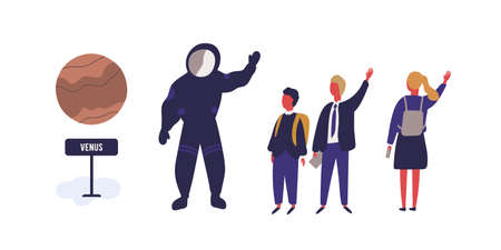 Happy pupils and cosmonaut at planetarium vector flat illustration. Man character in spacesuit greeting group of children waving hand isolated on white background. Kids at astronomical exhibition