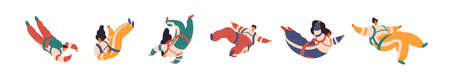 Set of cartoon colorful free fall people vector flat illustration. Collection of active man and woman flight in suspense enjoying freedom isolated on white. Joyful person during extreme sports