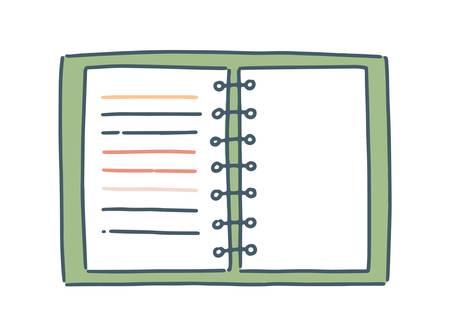 Karikaturnotizbuch mit flacher Illustration des gewundenen Vektors. Buntes gezeichnetes Papierblatt für Anmerkungen lokalisiert auf weißem Hintergrund. Handgezeichneter klarer Rohling mit Feder. Notizblock mit Umschlag zum Schreiben von Memos