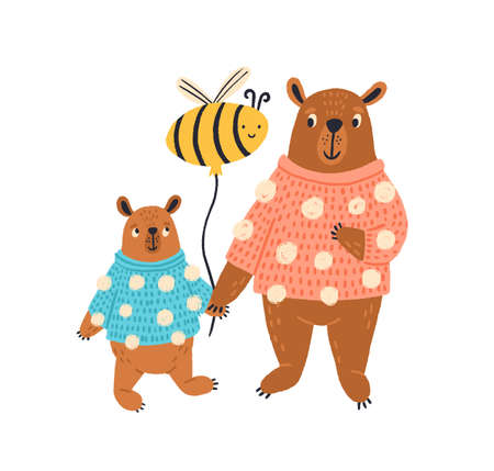 Colorful funny parent and child bear in sweater vector flat illustration. Cute wild animal standing with bee air balloon isolated on white background. Pretty creatures family 일러스트