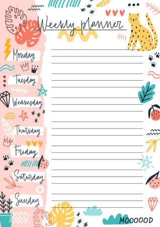Colorful weekly planner template with place for text vector flat illustration. Sheet with daily week for notes and planning decorated by doodle design elements. Hand drawn to do list or reminder Ilustración de vector