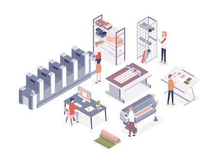 Cartoon people working at printing service center vector isometric illustration. Man and woman workers of printshop isolated on white background. Employee work with professional electronic equipment Vettoriali