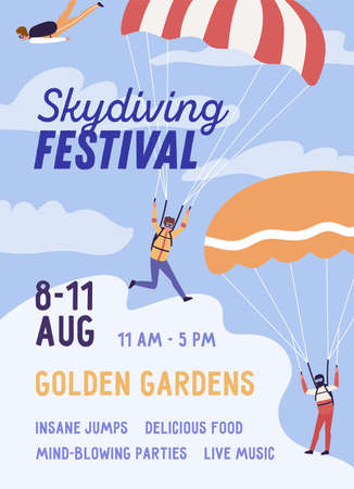 Skydiving festival colorful poster with place for text vector flat illustration. Announcement of extreme sport parachuting holiday. Active parachutist person performing insane jumps