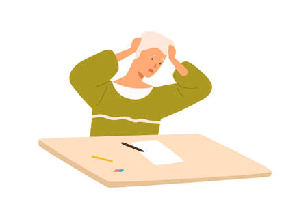 Male pupil panic at exam sitting on desk vector flat illustration. Teenage boy having stress dont know answers to test examination isolated on white background. Displeased student have problem