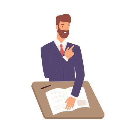 Friendly male in suit sitting at table during job interview vector flat illustration. Smiling bearded man writing test isolated on white background. Happy guy HR manager looking cv applicant