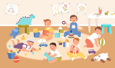 Happy cute kid playing with different toys and cubes at kindergarten interior vector flat illustration. Smiling boys and girls spending time at children playroom. Joyful babies at day nursery Illustration