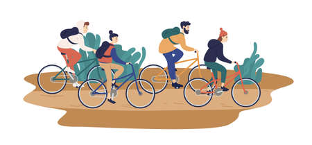 Group of smiling young friends riding bicycles together vector flat illustration. Colorful man and woman during touristic bike trip isolated on white background. People enjoying outdoors activity