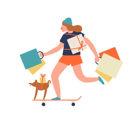 Funny hipster girl ride on skateboard hold shopping bag and gift box vector flat illustration. Happy teenage female with dog enjoying sale isolated on white. Joyful active young woman shopaholic