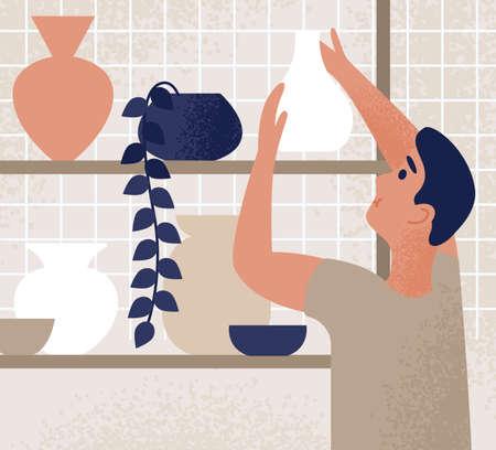 Male working at ceramic studio putting crockery on shelf vector flat illustration. Ceramist assistant holding craft pot at pottery workshop. Storage earthenware and handmade clayware on shelves