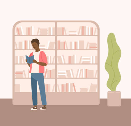 Male black skin holding book near bookcase at public library vector flat illustration. Colorful guy reading textbook surrounded by bookshelves isolated on white background. Student search literature