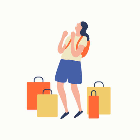 Laughing woman with backpack rejoicing surrounded by shopping bag vector flat illustration. Happy female teenager having fun enjoying sale isolated on white. Smiling girl standing with purchases