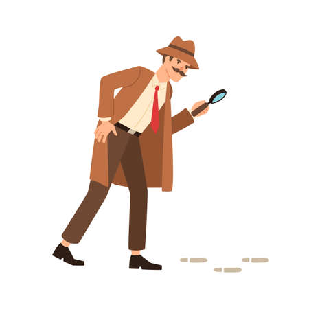 Private detective going on trace look through magnifying glass vector flat illustration. Inspector in coat, hat and mustache hold magnifier watch on mystery footprint isolated on white background