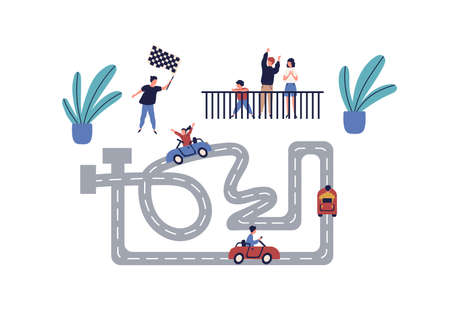 Active children race at karting competition vector flat illustration. Happy girl and boy riding on car enjoying amusement together isolated on white. Joyful family having leisure entertainment Illustration