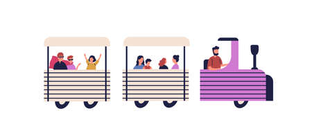 Happy children riding on train vector flat illustration. Colorful kids and parents enjoying track amusement isolated on white. Driver and group of people ride on entertainment transport Illustration
