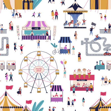 Amusement park with tiny people seamless pattern vector flat illustration. Cartoon man, woman, children and couple at outdoor attraction area on white background. Family entertainment leisure