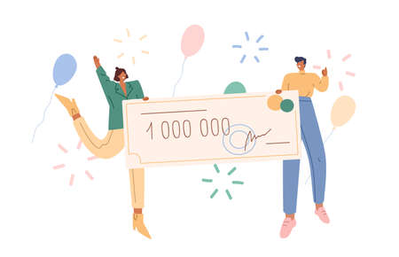Joyful man and woman holding bank check for million vector flat illustration. Happy couple winner of grant or lottery gain surrounded by air balloon and firework isolated on white background