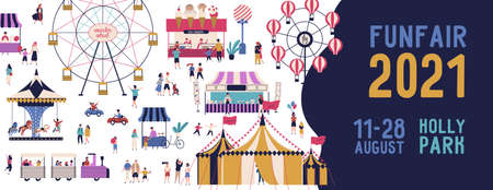 Funfair 2021 banner vector illustration in flat style. Promo of amusement park with various attractions and tiny people isolated. Announcement of family entertainment holiday with place for text
