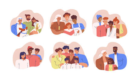 Set of various diverse happy family portrait vector flat illustration. Collection of different multinational parents, children, grandmother and grandfather posing together isolated on white
