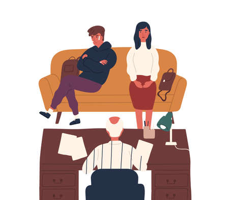 Frustrated mother and disobedience son meeting with director at office vector flat illustration. Mom and teacher discussing bad behavior and fighting of teen guy at school isolated on white