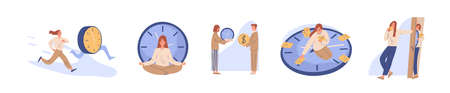 Concept of interaction people and time set vector flat illustration. Collection of man and woman business timing, earn money, self organization, missed opportunities, day planning isolated on white