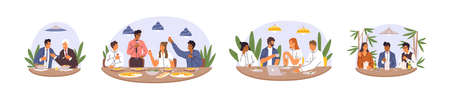 Set of various diverse business team eating together vector flat illustration. Collection of happy colleagues having informal meeting after work, celebrating success and smiling isolated on white