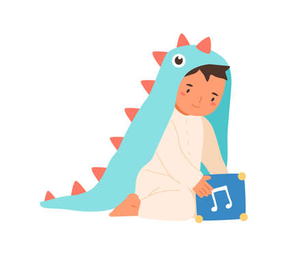Cute little boy wearing dinosaur costume playing with music box vector flat illustration. Adorable toddler in romper suit sitting with toy cube isolated on white. Lovely child in funny apparel Vektorgrafik