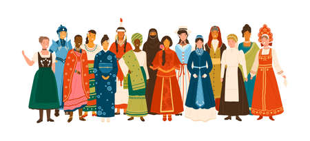 Smiling diverse female in national ethnic clothes vector flat illustration. Multinational group of happy woman in traditional folk apparel standing together isolated on white background