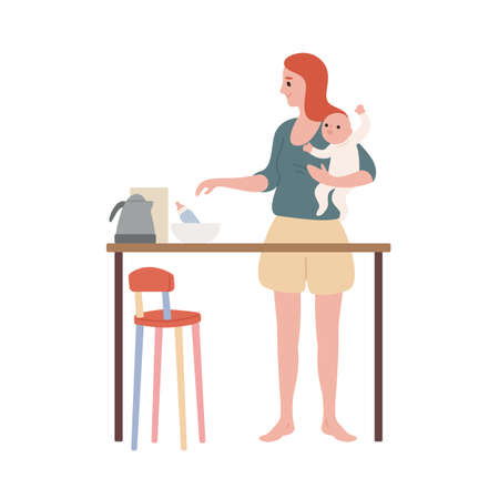 Smiling young mother holding newborn kid standing at kitchen vector flat illustration. Mom feeding baby with milk bottle isolated on white background. Happy caring woman enjoying motherhood Illustration